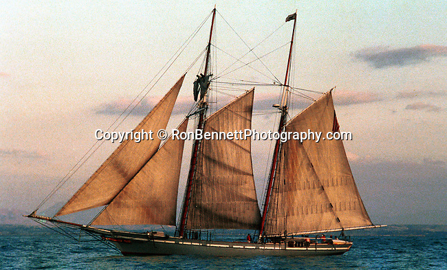 Schooner America sailing the Pacific Ocean off coast of California, California Fine Art Photography by Ron Bennett, Schooner, sailing vessel, fore-and-aft sails, sails on two or more masts, forward mast shorter or same height, rear masts, schooners used by Dutch 16th 17th century, golden age of piracy, schooner popular craft for pirate, schooner has eight  more cannons, schooner is sleek and fast crew of 75, rigging,  bowsprit, jib, fore staysail, gaff topsail, foresail, main gaff topsail, mainsail, end of boom, 152 feet in length, Schooner, Fine Art Photography by Ron Bennett, Fine Art, Fine Art photography, Art Photography, Copyright RonBennettPhotography.com ©