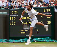 Marin Cilic (7) of Croatia in action during his victory over Gilles Muller (16) of Luxembourg in their Men's Singles Quarter Final Match today - Cilic def Muller 3-6, 7-6, 7-5, 5-7, 6-1<br /> <br /> Photographer Ashley Western/CameraSport<br /> <br /> Wimbledon Lawn Tennis Championships - Day 9 - Wednesday 12th July 2017 -  All England Lawn Tennis and Croquet Club - Wimbledon - London - England<br /> <br /> World Copyright &not;&copy; 2017 CameraSport. All rights reserved. 43 Linden Ave. Countesthorpe. Leicester. England. LE8 5PG - Tel: +44 (0) 116 277 4147 - admin@camerasport.com - www.camerasport.com