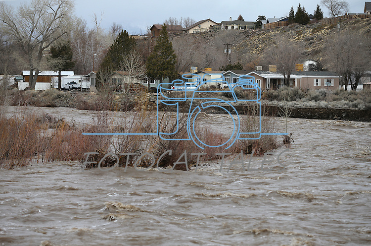Residents of the Riverview Mobile Home Park were briefly evacuated due to high water levels on the East Fork of the Carson River, in Gardnerville, Nev. on Monday, Jan. 9, 2017, as Northern Nevada gets slammed by a series of wet storms. <br /> Photo by Cathleen Allison/Nevada Photo Source