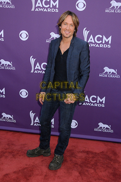 Keith Urban.48th Annual Academy of Country Music Awards - Arrivals held at the MGM Grand Garden Arena, Las Vegas, California, USA..April 7th, 2013.full length black shirt blue suit .CAP/ADM/BP.©Byron Purvis/AdMedia/Capital Pictures.