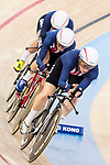The team of USA with Kelly Catlin, Chloe Dygert, Kimberly Geist and Jennifer Valente competes in the Women's Team Pursuit Finals as part of the 2017 UCI Track Cycling World Championships on 13 April 2017, in Hong Kong Velodrome, Hong Kong, China. Photo by Chris Wong / Power Sport Images
