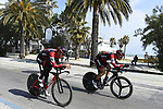 Tejay Van Garderen (USA) and Rohan Dennis (AUS) BMC Racing Team recon the course before Stage 7 of the 2017 Tirreno Adriatico a 10km Individual Time Trial at San Benedetto del Tronto, Italy. 14th March 2017.<br /> Picture: La Presse/Fabio Ferrari | Cyclefile<br /> <br /> <br /> All photos usage must carry mandatory copyright credit (&copy; Cyclefile | La Presse)