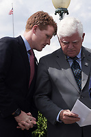 "Washington, DC - June 25, 2019: U. S. Representatives Joe Kennedy III and John B. Larson confer during a news conference to introduce the ""ACTION for National Service Act"" in front of the U.S. Capitol building, June 25, 2019.  (Photo by Lenin Nolly/Media Images International)"