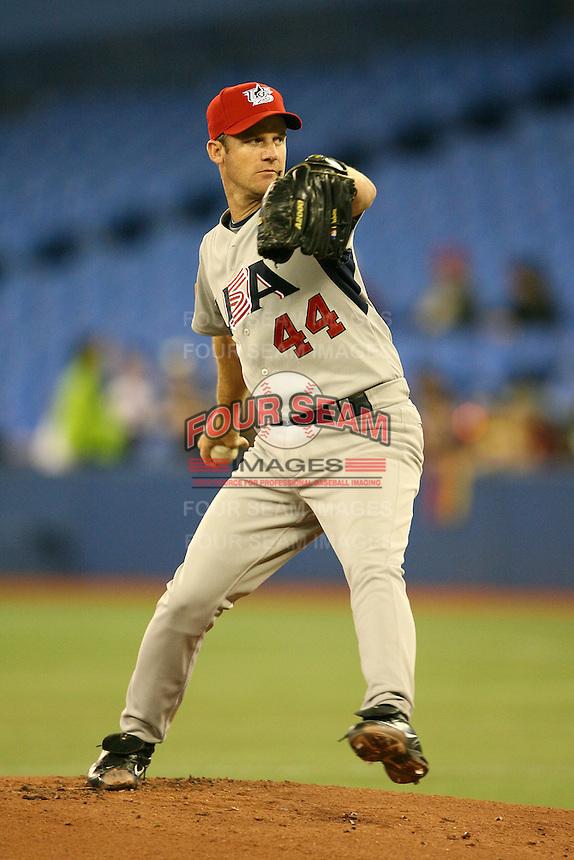 March 8, 2009:  Pitcher Roy Oswalt (44) of Team USA during the first round of the World Baseball Classic at the Rogers Centre in Toronto, Ontario, Canada.  Team USA defeated Venezuela  15-6 to secure a spot in the second round of the tournament.  Photo by:  Mike Janes/Four Seam Images