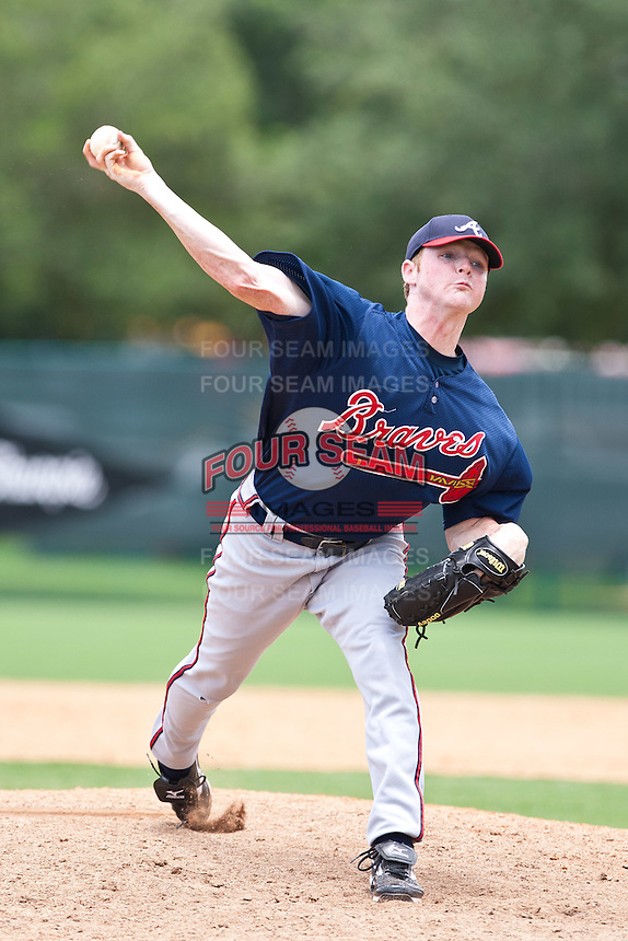 Nate Russ of the Gulf Coast League Braves during the game against the Gulf Coast League Tigers July 3 2010 at the Disney Wide World of Sports in Orlando, Florida.  Photo By Scott Jontes/Four Seam Images
