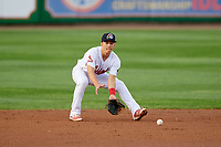 Peoria Chiefs shortstop Tommy Edman (16) fields a ground ball during a game against the West Michigan Whitecaps on May 9, 2017 at Dozer Park in Peoria, Illinois.  Peoria defeated West Michigan 3-1.  (Mike Janes/Four Seam Images)