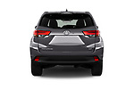 Straight rear view of 2017 Toyota Highlander LE-Plus 5 Door SUV Rear View  stock images