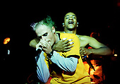 THE PRODIGY - Keith Flint and Maxim Reality - performing live at the Academy in Brixton London UK - 11 Oct 1996.  Photo credit: PG Brunelli/IconicPix