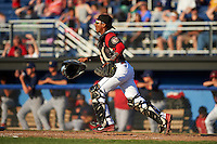 Batavia Muckdogs catcher Pablo Garcia (7) during a game against the State College Spikes on June 24, 2016 at Dwyer Stadium in Batavia, New York.  State College defeated Batavia 10-3.  (Mike Janes/Four Seam Images)