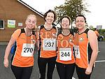 Olivia Bennett, Ann McDevitt, Aisling NíMhurchu and Sinead Daly who took part in the Meath Coast 10K run. Photo:Colin Bell/pressphotos.ie