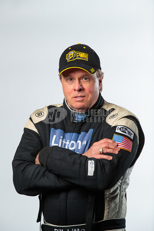 Feb 6, 2019; Pomona, CA, USA; NHRA top fuel driver Bill Litton poses for a portrait during NHRA Media Day at the NHRA Museum. Mandatory Credit: Mark J. Rebilas-USA TODAY Sports
