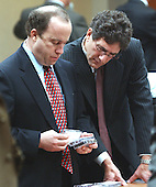 Defense attorney's Peter Greenspun and Jonathan Shapiro, right, goes through audio tapes of evidence that will be given to the jury during their second day of deliberations in the trial of sniper suspect John Allen Muhammad at the Virginia Beach Circuit Court in Virginia Beach, Virginia on November 17, 2003.  Muhammad was found guilty of capitol murder, terrorism, conspiracy and a firearms violation. <br /> Credit: Dave Ellis - Pool via CNP