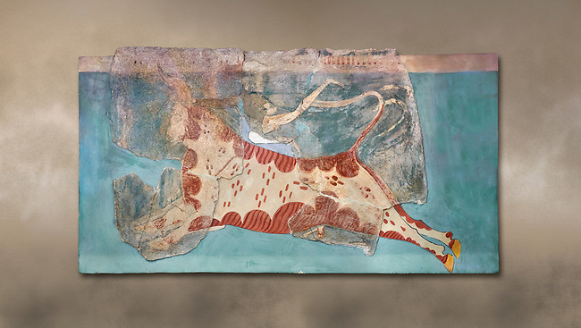 Mycenaean Fresco wall painting of a Mycanaean acrobat leaping over a bull, Early Palace,  Tiryns, Greece.  Athens Archaeological Museum.<br /> <br /> 14th  Cent BC.. Cat No 1595. The Mycenaean Fresco depicts an acrobat leaping over a charging bull whilst holding onto its horns. This ritual symbolised the struggle of domination of man over wild nature.