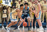 WASHINGTON, DC - FEBRUARY 8: Jameer Nelson Jr. #12 of George Washington dribbles past Jeff Dowtin #11 of Rhode Island during a game between Rhode Island and George Washington at Charles E Smith Center on February 8, 2020 in Washington, DC.