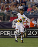 Monarcas Morelia defender Adrian Aldrete (16) settles the ball. The New England Revolution defeated Monarcas Morelia in SuperLiga 2010 group stage match, 1-0, at Gillette Stadium on July 20, 2010.