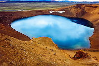 Iceland. Volcanic landscape at the Krafla caldera. The Viti explosion crater.