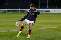Josh Barton of London Scottish practices kicking during the Championship Cup match between London Scottish Football Club and Yorkshire Carnegie at Richmond Athletic Ground, Richmond, United Kingdom on 4 October 2019. Photo by Carlton Myrie / PRiME Media Images