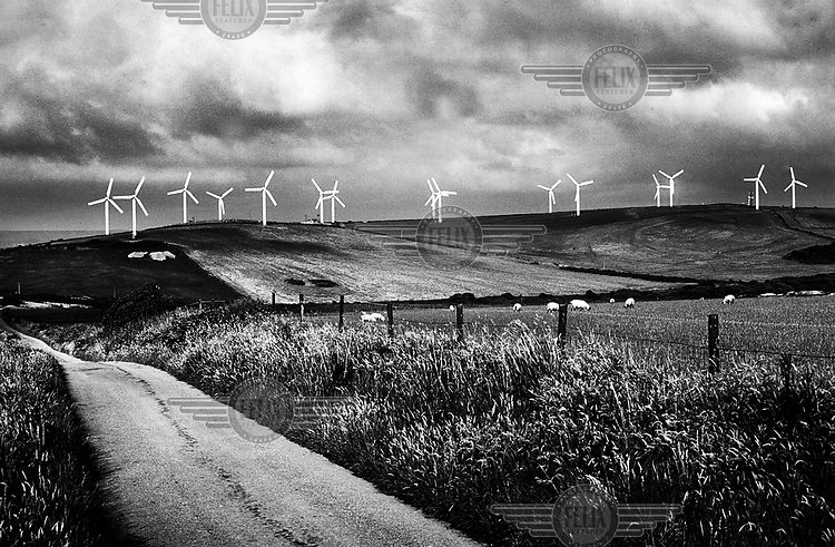 Turbines on a wind farm in the Cornish hills.