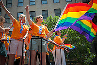 NY Life insurance company workers on their float in the 44th annual Lesbian, Gay, Bisexual and Transgender Pride Parade on Fifth Avenue in New York on Sunday, June 30, 2013. The turn out for the parade was especially large with the recent Supreme Court decision overturning the Defense of Marriage Act (DOMA) and California's Proposition 8.  (© Richard B. Levine)