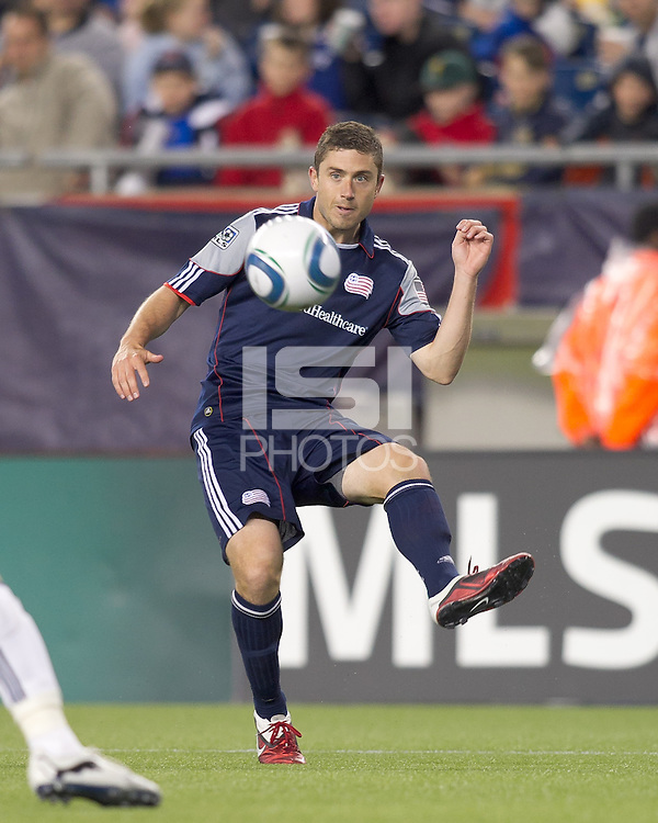 New England Revolution defender Chris Tierney (8) passes the ball. In a Major League Soccer (MLS) match, the New England Revolution defeated the Vancouver Whitecaps FC, 1-0, at Gillette Stadium on May14, 2011.