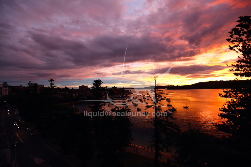 Panoramic Sydney Harbour view from Manly on the North Shore during sunset time.