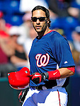 6 March 2010: Washington Nationals' infielder Mike Morse in action during a Spring Training game against the New York Mets at Space Coast Stadium in Viera, Florida. The Mets defeated the Nationals 14-6 in Grapefruit League action. Mandatory Credit: Ed Wolfstein Photo