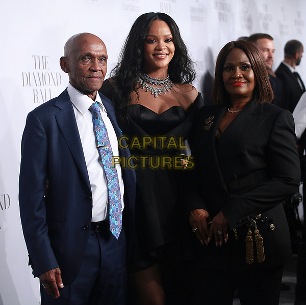 NEW YORK, NY - SEPTEMBER 14: Lionel Braithwaite, Rihanna and Monica Braithwaite at  Rihanna's 3rd Annual Diamond Ball at Cipriani Wall Street on September 14, 2017 in New York City. <br /> CAP/MPI99<br /> &copy;MPI99/Capital Pictures