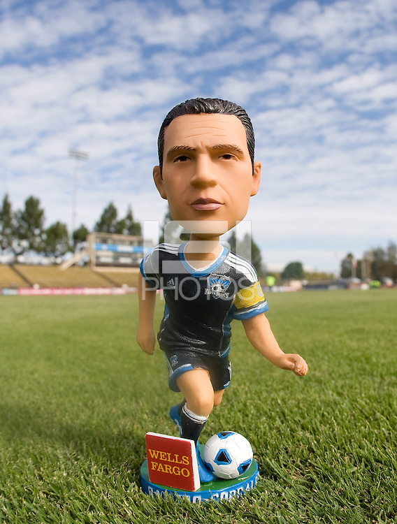 Ramiro Corrales bobblehead is pictured on the field before the game between Earthquakes and Galaxy at Buck Shaw Stadium in Santa Clara, California on October 21st, 2012.  San Jose Earthquakes and Los Angeles Galaxy tied at 2-2.