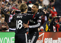 WASHINGTON, D.C - April 05 2014: Chris Rolfe after scoring the second D.C. United goal in the ninetieth minute against the New England Revolution in an MLS match at RFK Stadium, in Washington D.C. United won 2-0.