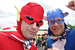 22 June 2006: U.S. fans dressed up as comic superheros Flash and Captain America. Ghana played the United States at the Frankenstadion in Nuremberg, Germany in match 42, a Group E first round game, of the 2006 FIFA World Cup.