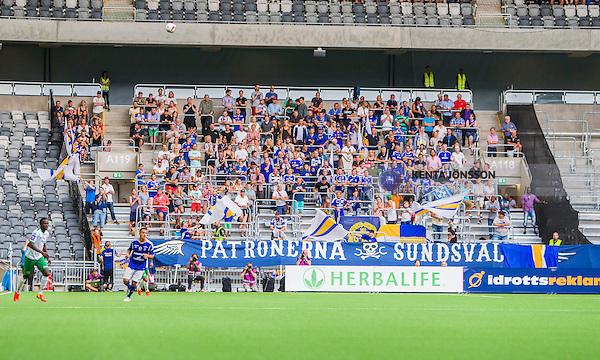 Stockholm 2014-08-10 Fotboll Superettan Hammarby IF - GIF Sundsvall :  <br /> Vy &ouml;ver Tele2 Arena med Sundsvalls supportrar p&aring; l&auml;ktare under matchen mellan Hammarby och Sundsvall<br /> (Foto: Kenta J&ouml;nsson) Nyckelord:  Superettan Tele2 Arena Hammarby HIF Bajen GIF Sundsvall supporter fans publik supporters