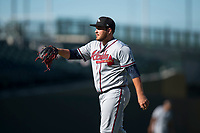 Peoria Javelinas relief pitcher Thomas Burrows (17), of the Atlanta Braves organization, during an Arizona Fall League game against the Mesa Solar Sox at Sloan Park on November 6, 2018 in Mesa, Arizona. Mesa defeated Peoria 7-5 . (Zachary Lucy/Four Seam Images)
