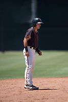 San Francisco Giants Black second baseman Nico Giarratano (31) takes a lead off second base during an Extended Spring Training game against the Los Angeles Angels at the San Francisco Giants Training Complex on May 25, 2018 in Scottsdale, Arizona. (Zachary Lucy/Four Seam Images)