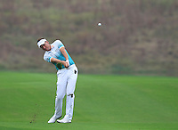Ian Poulter (ENG) plays his 2nd shot on the 11th hole during Friday's Round 2 of the 2014 BMW Masters held at Lake Malaren, Shanghai, China 31st October 2014.<br /> Picture: Eoin Clarke www.golffile.ie