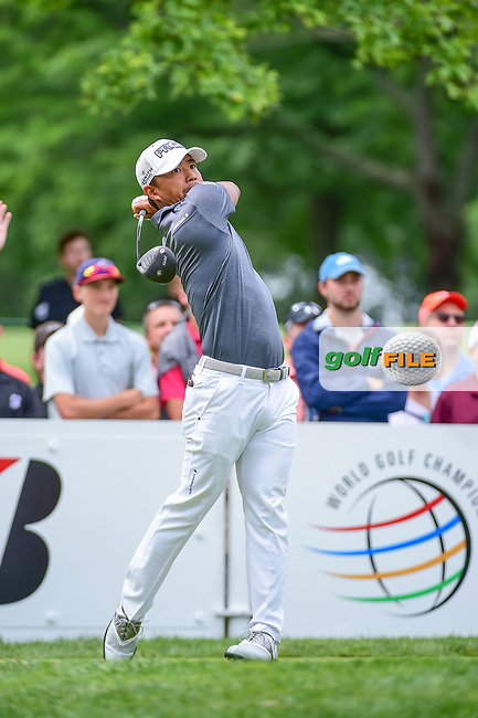 Satoshi Kodaira (JPN) watches his tee shot on 9 during Sunday's final round of the World Golf Championships - Bridgestone Invitational, at the Firestone Country Club, Akron, Ohio. 8/6/2017.<br /> Picture: Golffile | Ken Murray<br /> <br /> <br /> All photo usage must carry mandatory copyright credit (&copy; Golffile | Ken Murray)
