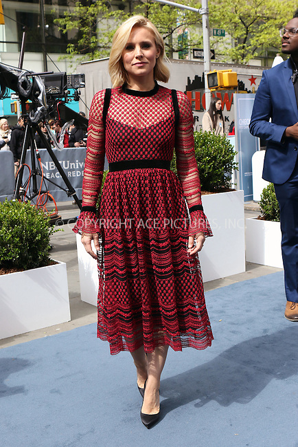 WWW.ACEPIXS.COM<br /> <br /> May 16 2016, New York City<br /> <br /> Kristen Bell arriving at the 2016 NBC Univeral Upfront at Radio City Music Hall on May 16, 2016 in New York City.<br /> <br /> By Line: Nancy Rivera/ACE Pictures<br /> <br /> <br /> ACE Pictures, Inc.<br /> tel: 646 769 0430<br /> Email: info@acepixs.com<br /> www.acepixs.com