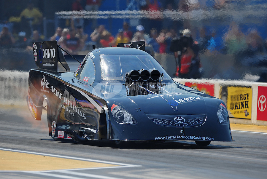 Jul. 1, 2012; Joliet, IL, USA: NHRA funny car driver Terry Haddock during the Route 66 Nationals at Route 66 Raceway. Mandatory Credit: Mark J. Rebilas-