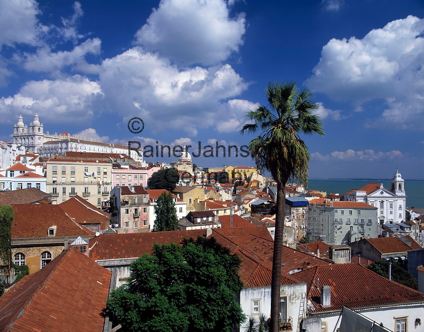 Portugal, Lissabon: Miradouro da Santa Luzia mit Blick ueber die Alfama (Altstadt)   Portugal, Lisbon: Miradouro da Santa Luzia with view across the Alfama (old town)