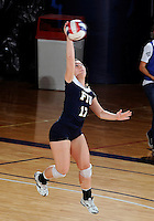 FIU defensive specialist/libero Carolyn Fouts (17) plays against Western Kentucky in the semi-finals of the Sunbelt Conference Volleyball Tournament.  Western Kentucky won the match 3-0 on November 18, 2011 at Miami, Florida. .