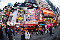Advertising in Times Square in New York for Broadway plays and musicals is seen on Thursday, November 24, 2011. (© Frances M. Roberts)