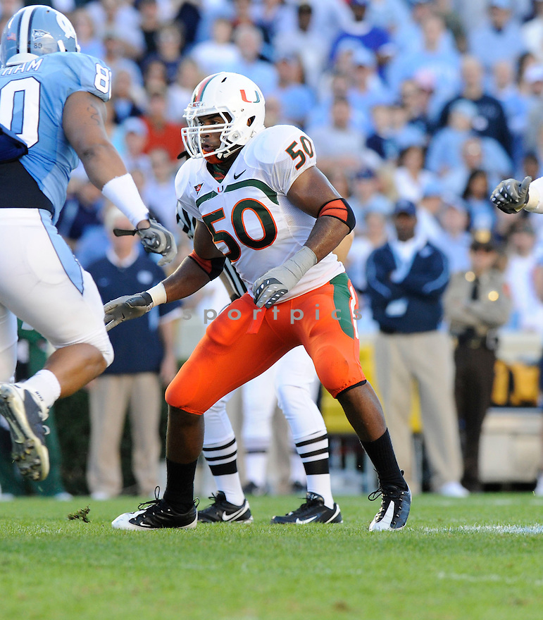 DARRYL SHARPTON, of the Miami Hurricanes, in action during the Hurricanes game against the North Carolina Tarheels on November 14, 2009 in Chapel Hill, NC. North Carolina won 33-24.