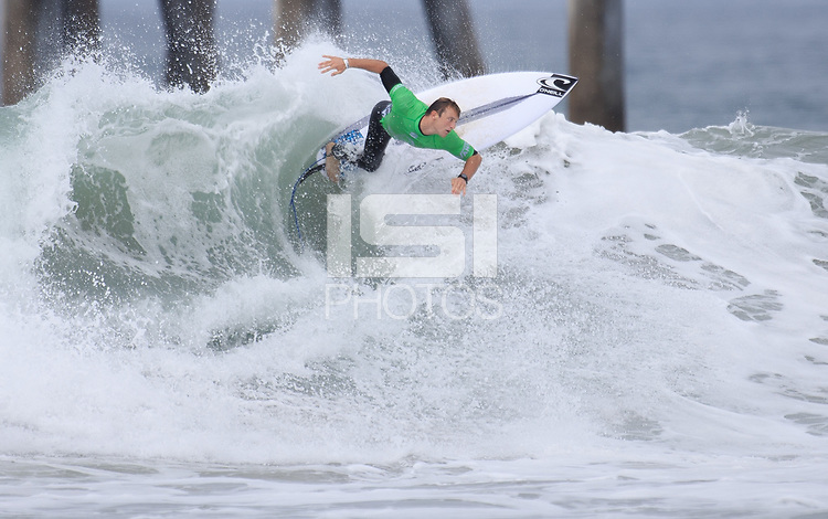 Huntington Beach, CA - Sunday July 30, 2017: Jack Boyes during a Qualifying Series (QS) trials round heat in the 2017 Vans US Open of Surfing on the South side of the Huntington Beach pier.