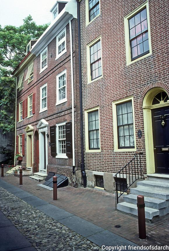 Philadelphia: Elfreth's Alley, post-Revolution houses. 3 1/2 story brick. Photo '85.