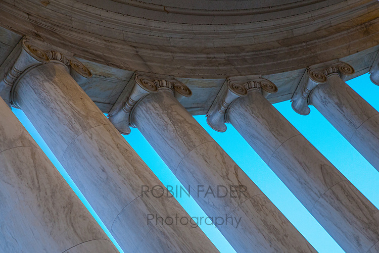 Looking up at the Jefferson Memorial.  In awe over the craftsmanship of these columns.