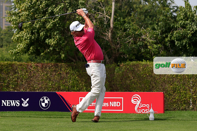 Miguel Angel Jimenez (ESP) on the 2nd tee during Round 2 of the Omega Dubai Desert Classic, Emirates Golf Club, Dubai,  United Arab Emirates. 25/01/2019<br /> Picture: Golffile | Thos Caffrey<br /> <br /> <br /> All photo usage must carry mandatory copyright credit (© Golffile | Thos Caffrey)