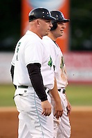 September 9 2008:  First baseman Ben Lasater and Manager Daren Everson of the Jamestown Jammers, Class-A affiliate of the Florida Marlins, during a game at Russell Diethrick Park in Jamestown, NY.  Photo by:  Mike Janes/Four Seam Images