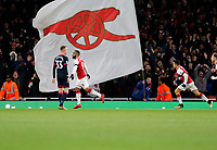 GOAL - Alexandre Lacazette of Arsenal celebrates scoring the first goal during the Premier League match between Arsenal and Huddersfield Town at the Emirates Stadium, London, England on 29 November 2017. Photo by Carlton Myrie / PRiME Media Images.