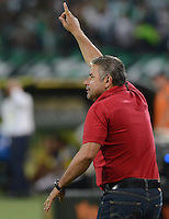 MEDELLÍN -COLOMBIA-05-08-2015: Guillermo Berrio técnico de Deportivo Pasto gesticula durante partido con Atlético Nacional por la fecha 5 de la Liga Aguila II 2015 jugado en el estadio Atanasio Girardot de la ciudad de Medellín./ Guillermo Berrio coach of Deportivo Pasto during the match against Atletico Nacional for the  5th date of the Aguila League II 2015 at Atanasio Girardot stadium in Medellin city. Photo: VizzorImage/León Monsalve/ Cont