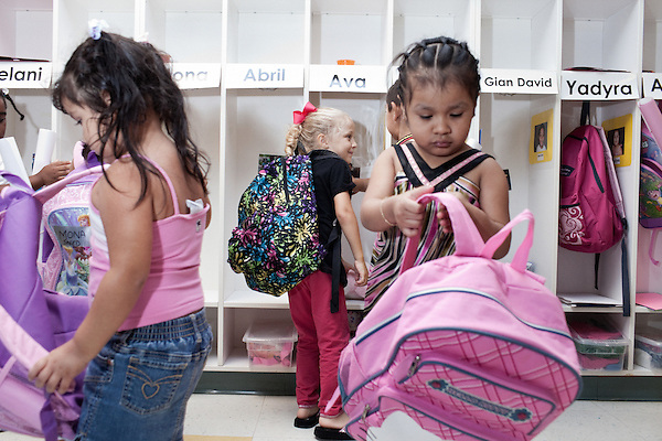 September 14, 2011. Raleigh, NC. . Students pack up their things to head home.. Project Enlightenment, a public pre-kindergarten program for at risk children, has been threatened with closure due to state wide budget cuts..