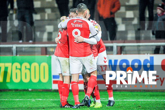 /ftf6/ celebrate going 2-0 up during the Sky Bet League 1 match between Fleetwood Town and Coventry City at Highbury Stadium, Fleetwood, England on 27 November 2018. Photo by Stephen Buckley / PRiME Media Images.